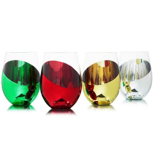 Multicolored Stemless Wine Glasses, Set of 4