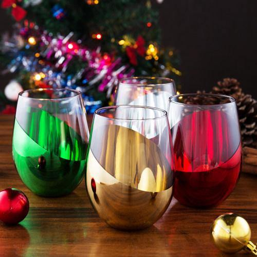Multicolored Stemless Wine Glasses, Set of 4 - MyGift
