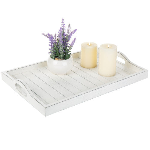 Farmhouse Style Whitewashed Wood Serving Tray with Cutout Handles