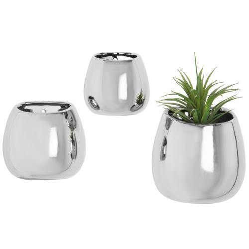 Contemporary Silver Ceramic Wall-Mounted Planters, Set of 3 - MyGift