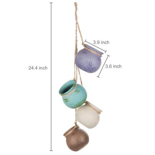 Hanging Ceramic Planter Set, Pastel Multi-Color - MyGift