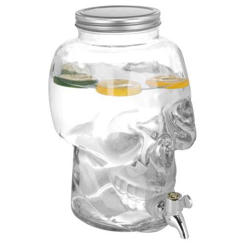 1-Gallon Glass Skull Beverage Drink Dispenser with Spigot and Screw Lid