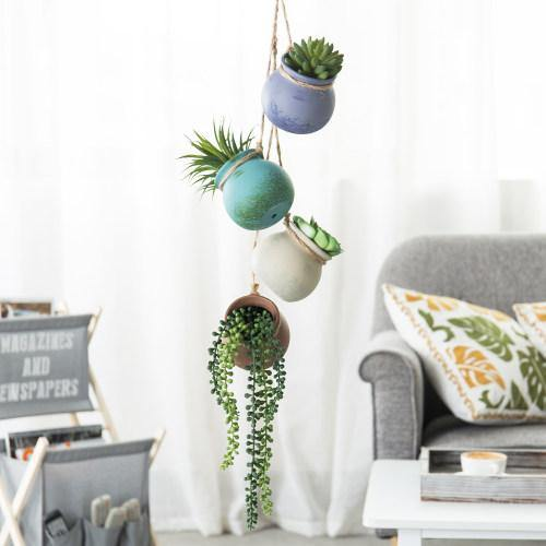 Hanging Ceramic Planter Set, Pastel Multi-Color
