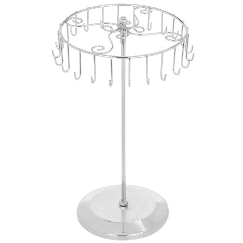 Rotating Silver-Tone Necklace Holder Bracelet Stand-MyGift
