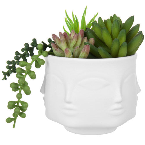 White Ceramic Guanyin Multi-Face Succulent Planter