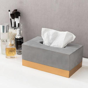 Modern Gold Tone and Gray Cement Tissue Box Cover