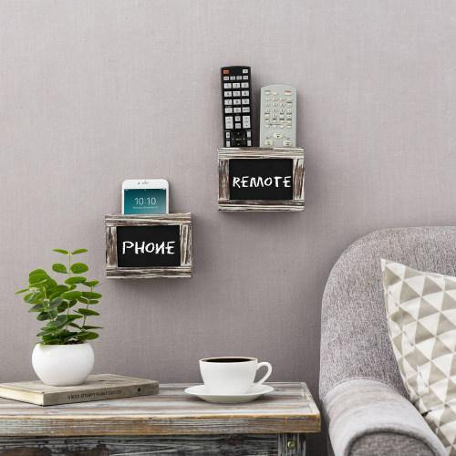 Torched Wood Remote Control Holder w/ Chalkboard, Set of 2-MyGift