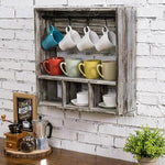 Torched Wood Coffee Mug Rack & Storage Shelf-MyGift
