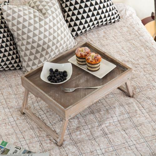 Vintage Graywashed Wood Tray w/Foldable Legs