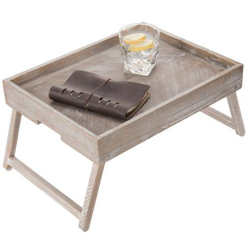 Vintage Graywashed Wood Tray w/Foldable Legs - MyGift