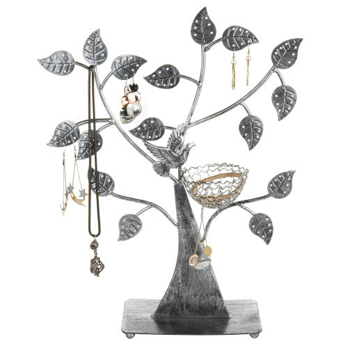 Silver Metal Tabletop Jewelry Tree with Bird Nest-MyGift