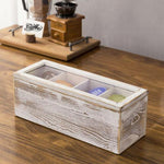 Shabby Whitewashed Wood Tea and Coffee Organizer Box with Clear Lid