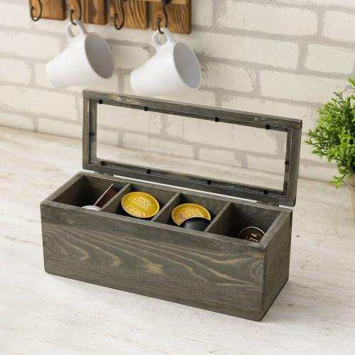 Gray Wood Tea and Coffee Organizer Box with Clear Lid