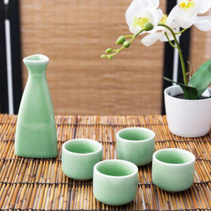 Japanese Style Jade-Color Ceramic Sake Set with Carafe and 4 Cups