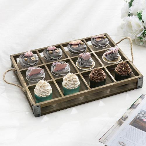 Distressed Wood  12 Slot Tray w/ Corner Wraps & Rope Handles