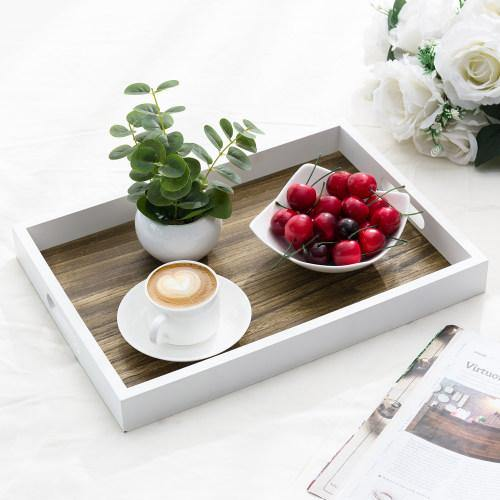 Brown/White Wood Serving Tray