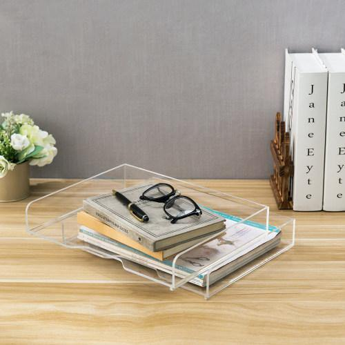 Clear Acrylic Stacking Desktop Document Trays, Set of 2