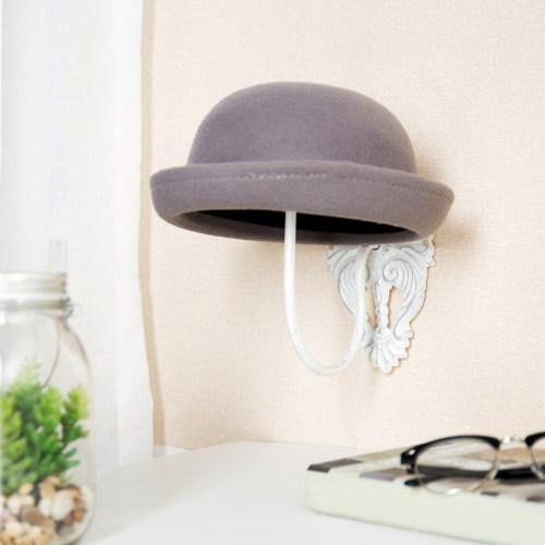 Wall-Mounted Vintage White Metal Hat & Wig Holders, Set of 2