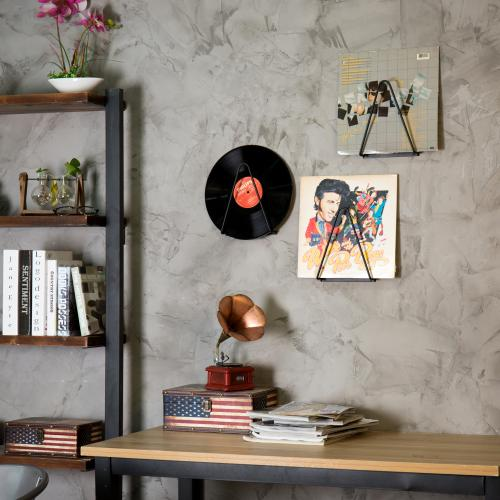Black Wrought Iron Wall-Mounted Record/Magazine Holders, Set of 3