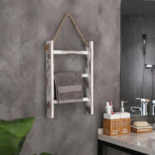 Whitewashed Wood Wall-Hanging Hand Towel Ladder