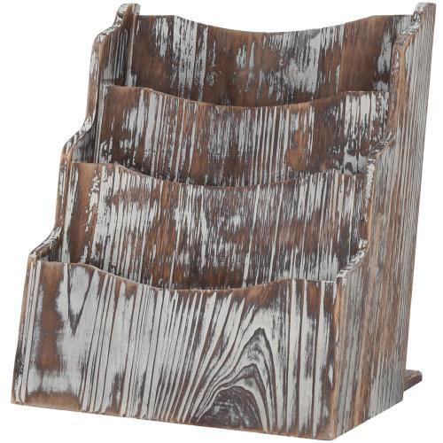 Rustic Torched Wood Magazine Rack-MyGift