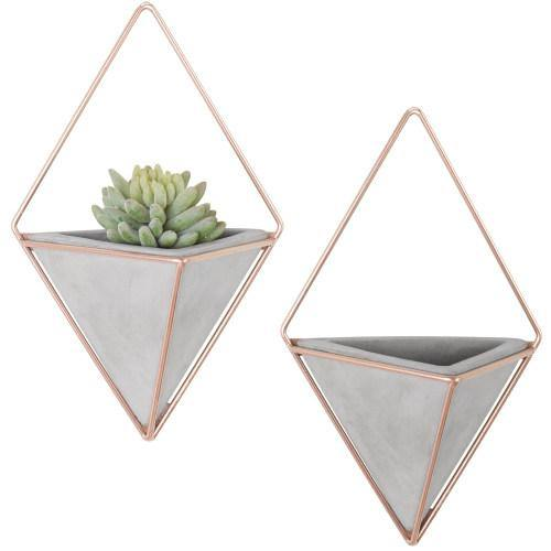 Triangular Cement Wall Planters with Rose Gold-Tone Metal Frames, Set of 2