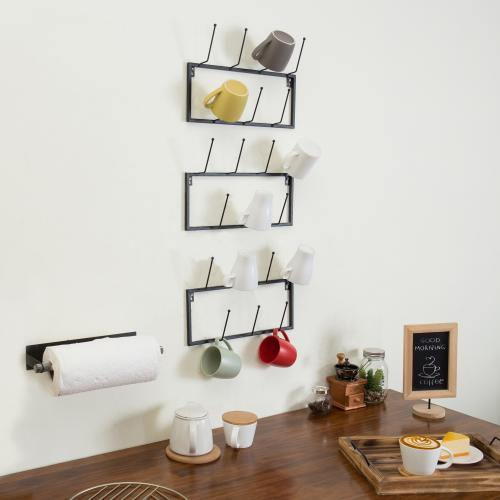Black Metal Wall-Mounted Coffee Mug Rack, Set of 3