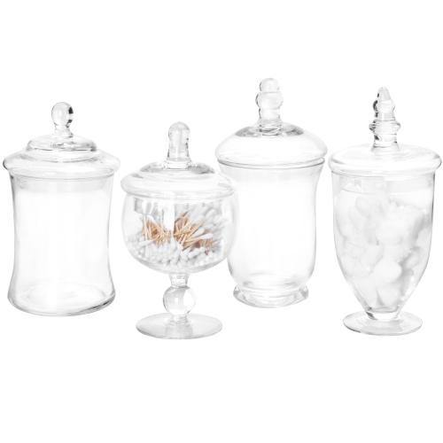 Small Clear Glass Apothecary Jars, Set of 4-MyGift