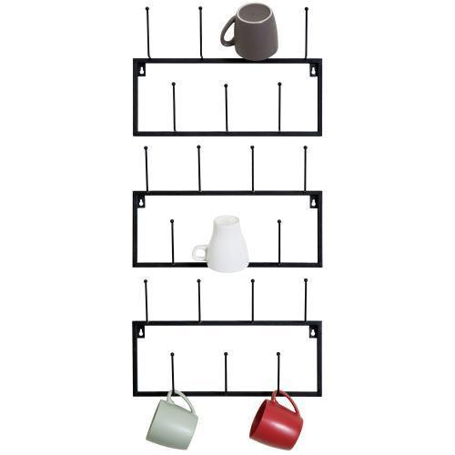 Black Metal Wall-Mounted Coffee Mug Rack, Set of 3 - MyGift