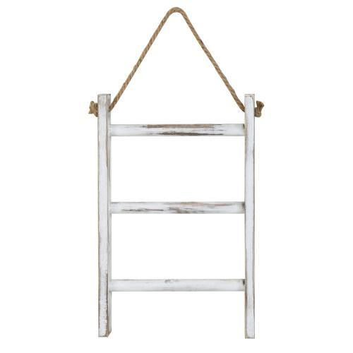 Whitewashed Wood Wall-Hanging Hand Towel Ladder - MyGift