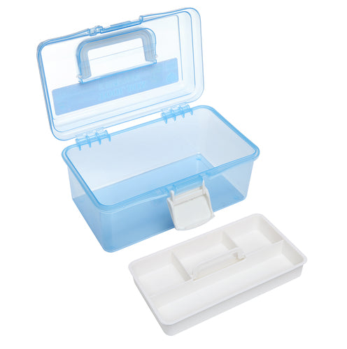 Clear Light Blue and White Plastic Multipurpose Box-MyGift