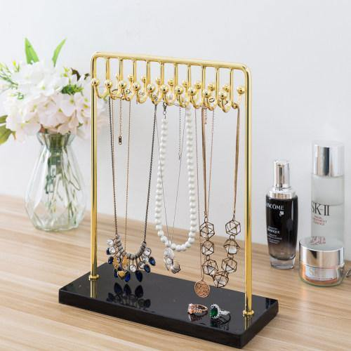 Modern Brass Plated Metal Jewelry Stand with Black Marble Base