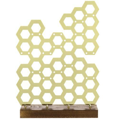 Brass Plated Honeycomb Earring Display - MyGift