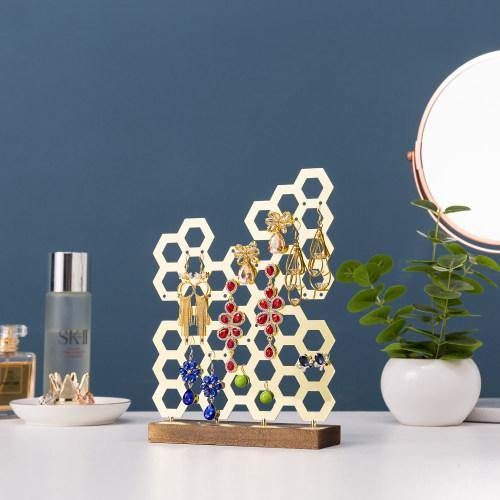 Brass Plated Honeycomb Earring Display-MyGift