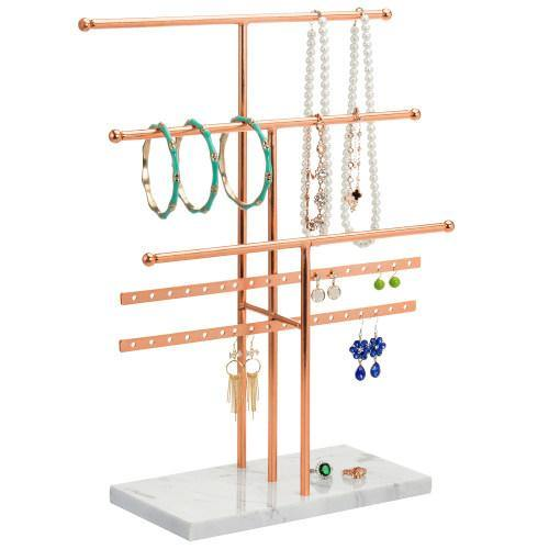 Rose Gold Metal and Marble Tabletop Jewelry Organizer-MyGift