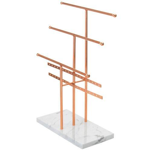 Rose Gold Metal and Marble Tabletop Jewelry Organizer - MyGift