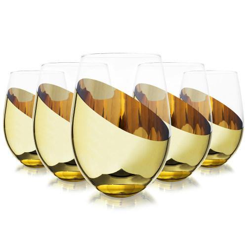 Titled Design Brass Stemless Wine Glasses, Set of 6-MyGift