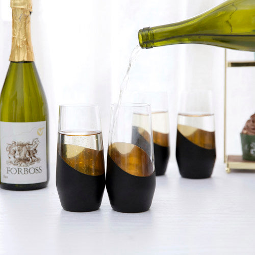 Modern Black and Gold Plated Stemless Champagne Flutes, Set of 4