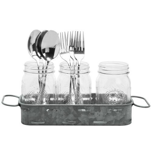 Galvanized Silver Metal Tray with 3 Glass Mason Jars-MyGift