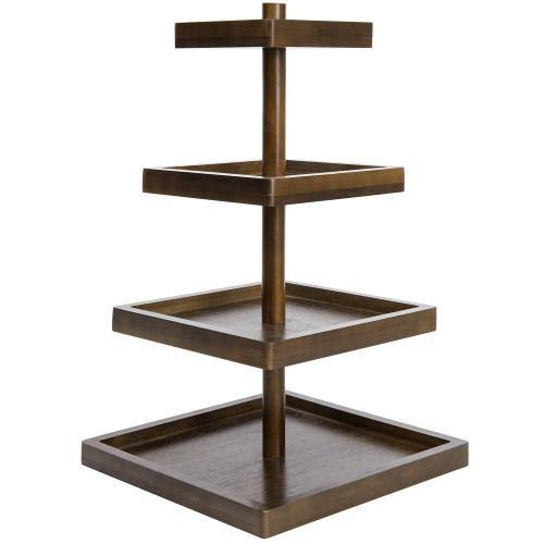 Dark Brown Bamboo Square Display Stand, 4-Tier-MyGift