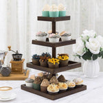 Dark Brown Bamboo Square Display Stand, 4-Tier