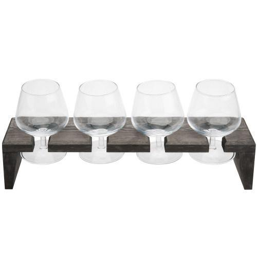Rustic Gray Wood Beer and Liquor Flight Set w/ Snifter Glasses-MyGift