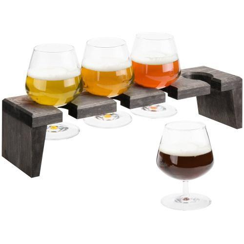 Rustic Gray Wood Beer and Liquor Flight Set w/ Snifter Glasses
