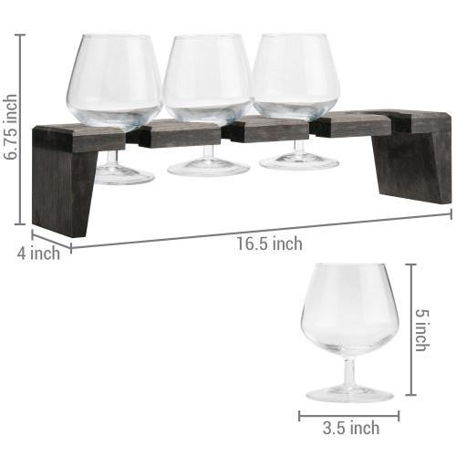 Rustic Gray Wood Beer and Liquor Flight Set w/ Snifter Glasses - MyGift