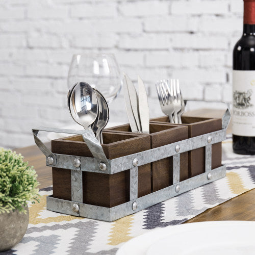 Galvanized Metal & Brown Mango Wood Utensils Holder
