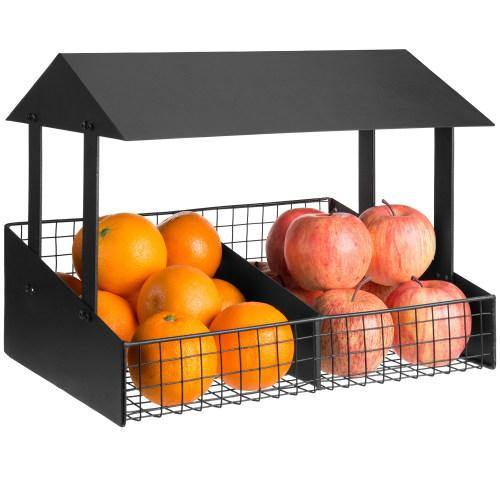 Black Metal Fruit Stand Style Produce Basket-MyGift