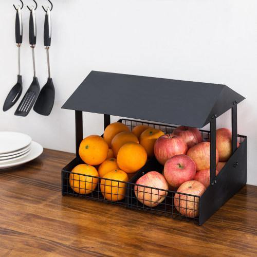 Black Metal Fruit Stand Style Produce Basket
