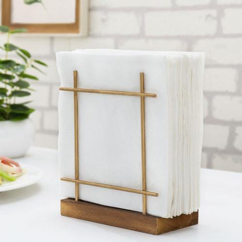 Rustic Dark Brown Wood & Brass Metal Napkin Holder