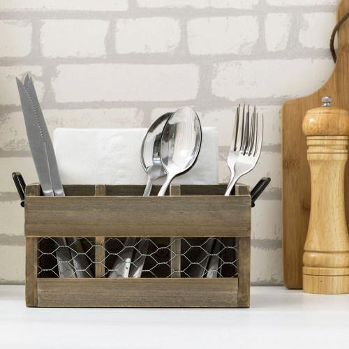 Reclaimed Style Wood and Chicken Wire Utensil Holder - MyGift