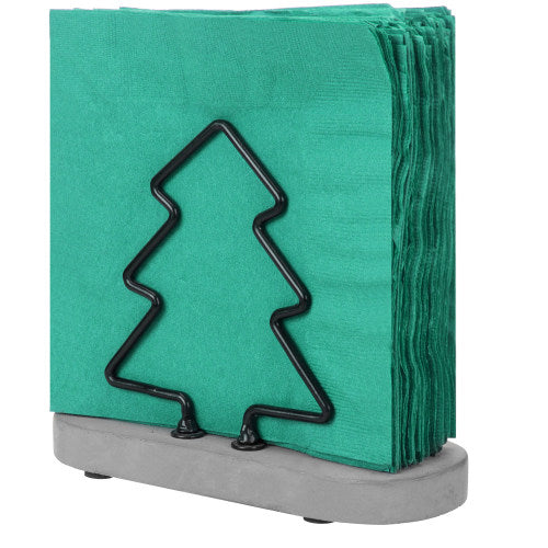 Metal Wire Napkin Holder w/ Gray Cement Base and Christmas Tree Design-MyGift